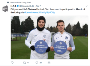 Chelsea Footballers say no to anti-Semitism