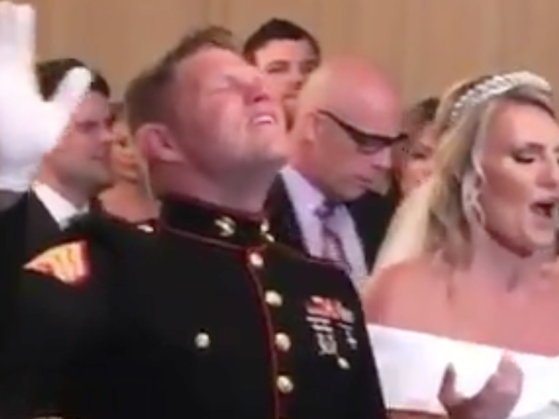 WATCH: Marine's Wedding Turns into Full On Worship Service!