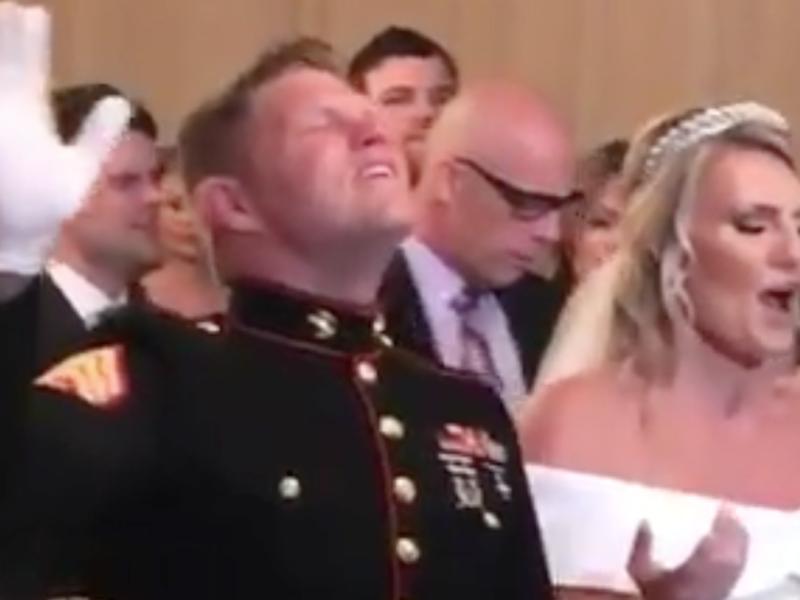 WATCH: Marine's Wedding Turns into Full On Worship Service!
