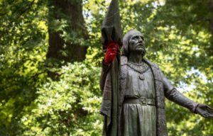 Denial - Christopher Columbus statue defaced