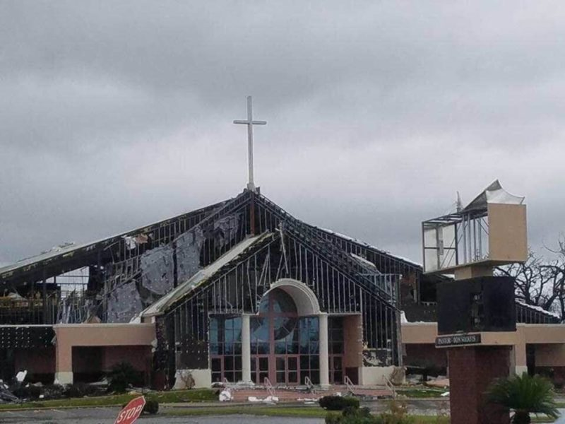 A Cross at Church Spotted Standing Strong Despite Hurricane Michael's Monstrous Winds