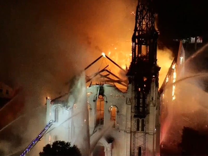 Historic Church Destroyed By Fire But A Painting Of Jesus Was Recovered Unharmed