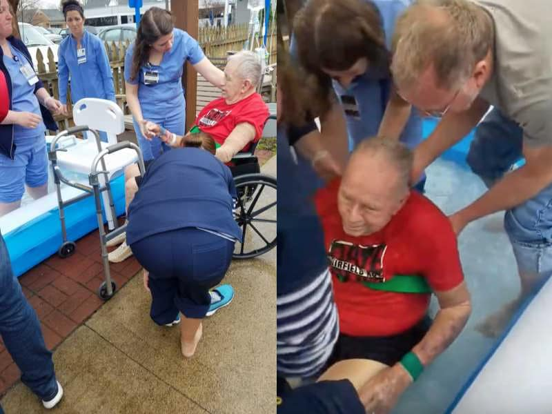 85 Year-Old Stroke Patient Baptized In Courtyard Of Rehab Facility