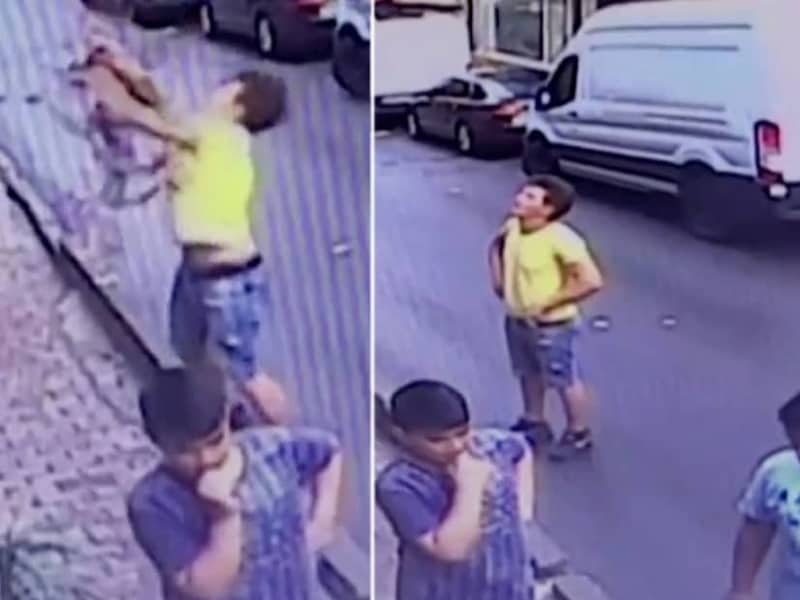 CAUGHT ON CAMERA: Teen Saves 2-Year-Old Girl As She Falls From A 2nd Story Window