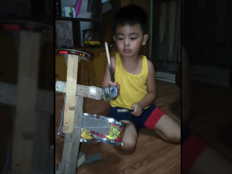4 Year Old Boy Plays Homemade Drumset to the Tune of 'Nothing Is Impossible'