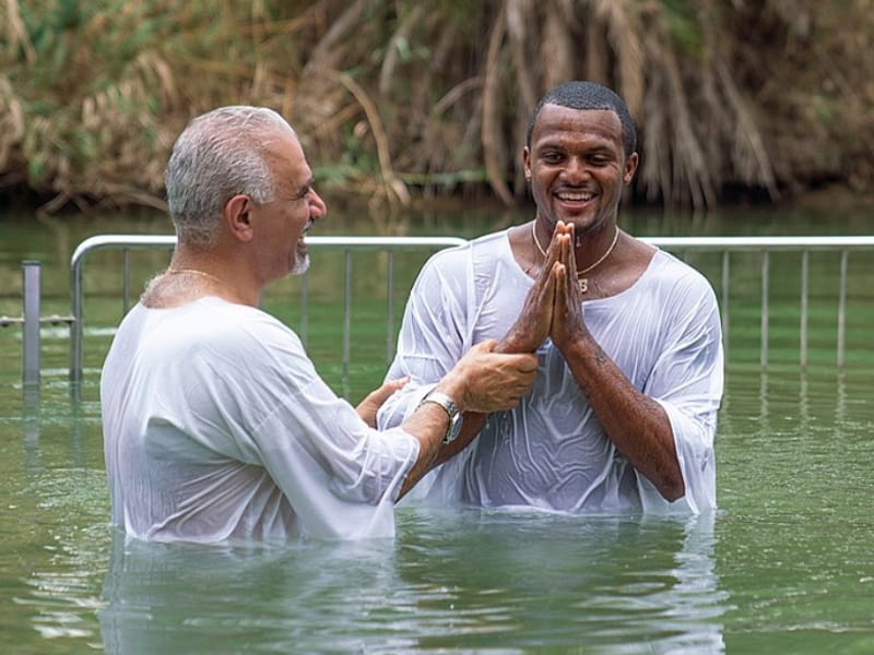 Houston Texans Quarterback Deshaun Watson Baptized In The Jordan River