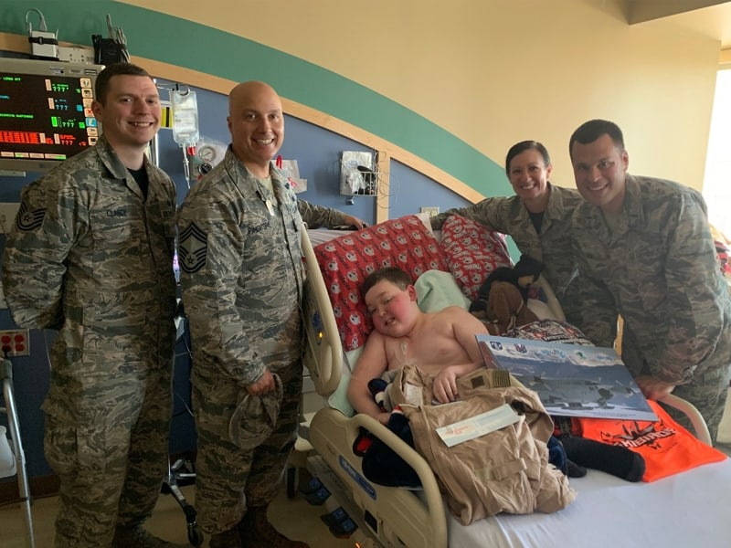 Boy With Terminal Brain Cancer Receives Support From Military Officers