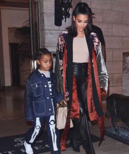 Kim Kardashian with her son