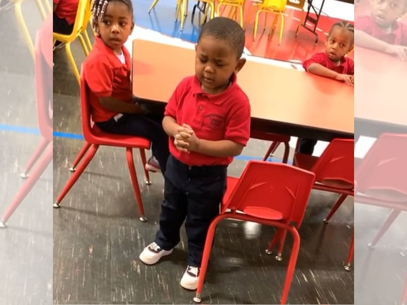 Watch The Adorable Viral Video Of 3-Year-Old Pre-Schooler Blessing His Food At Class