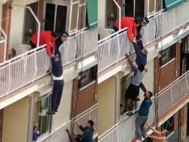 Watch: Brave Rescue Of Elderly Man Hanging From His Balcony In Madrid