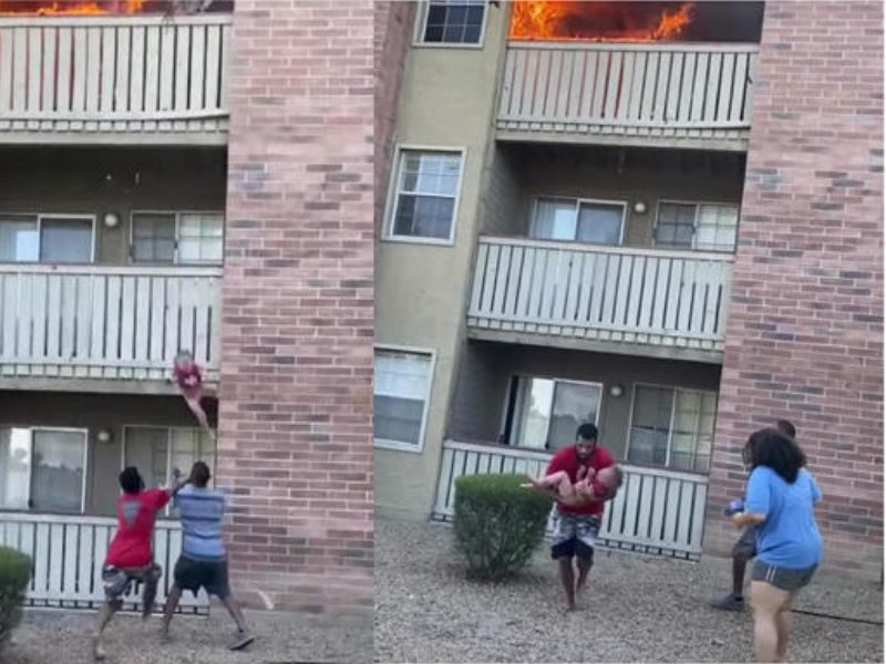 Former U.S. Marine And Football Player Catches Toddler Thrown From Balcony Of Burning Building