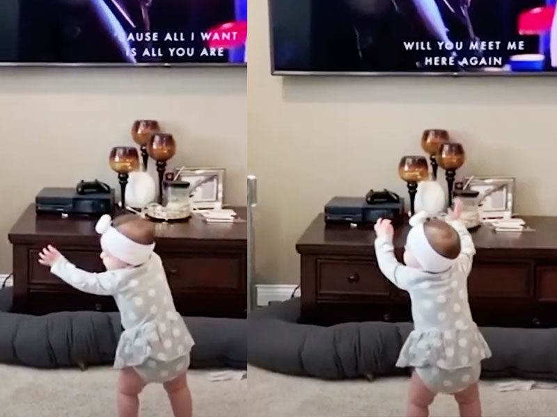 1-Year-Old Baby Caught Worshipping After Hearing Worship Music