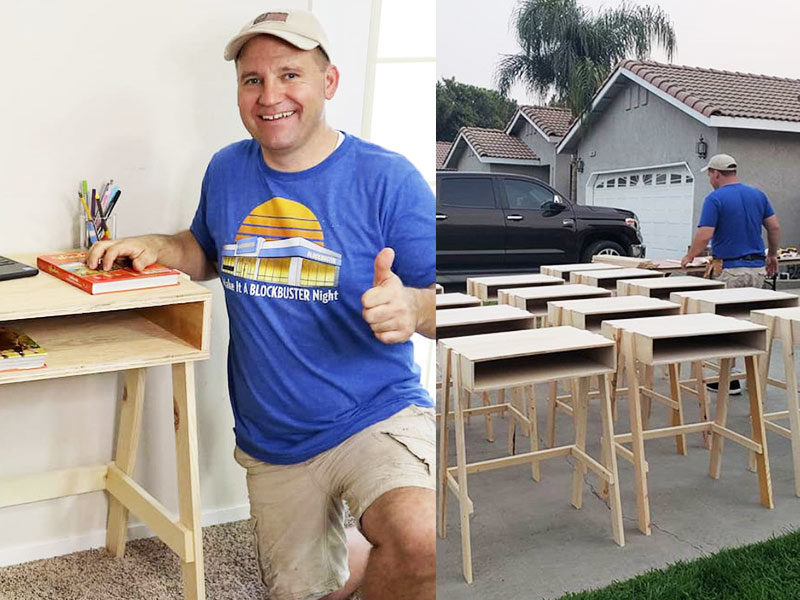Dad Builds Desks For Low-Income Students During Pandemic
