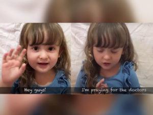 Little girl prays for the world