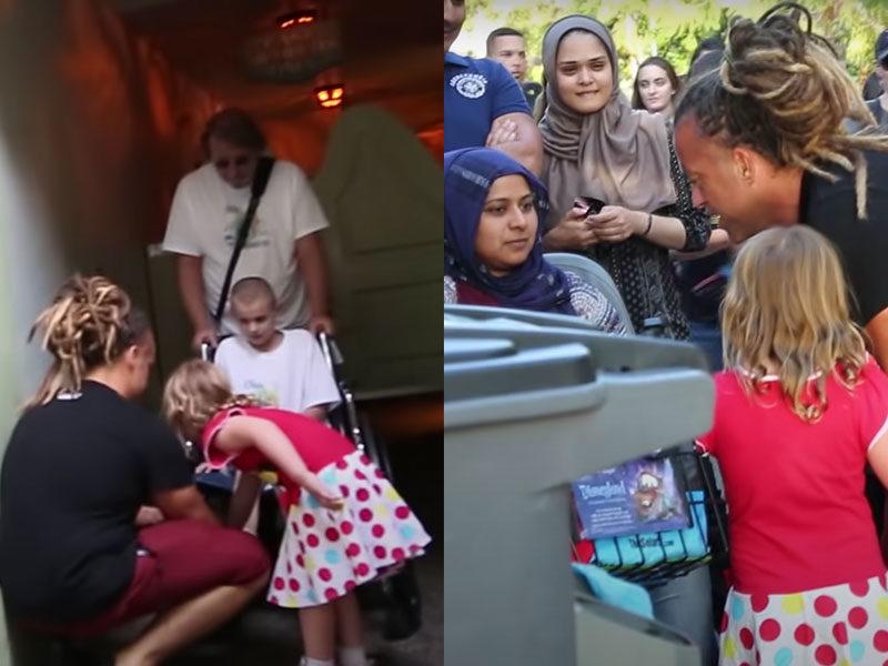 Little Girls Pray For Sick People In Disneyland