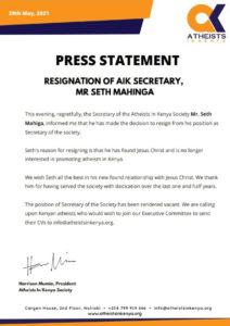 Atheist top Leader in Kenya resigns