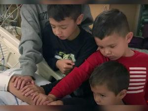 Grandchildren prays for pastor grandfather
